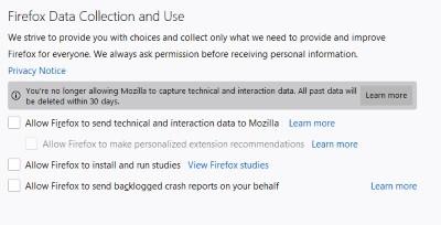 إلغاء تحديد كافة اعدادات فايرفوكس لاستخدام البيانات