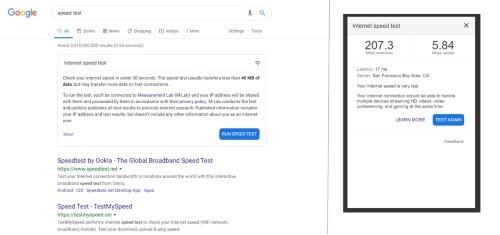 سرعة الانترنت من خلال جوجل