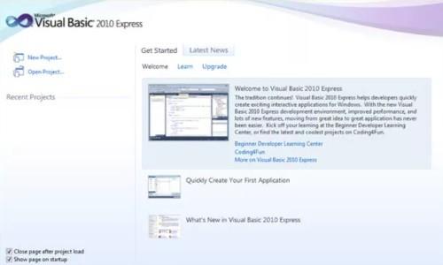 إعداد Visual Basic 2010