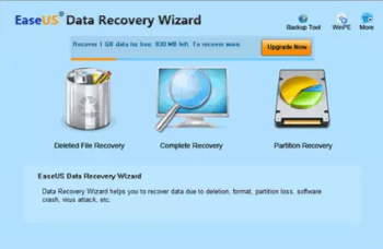 واجهة عمل EasUS Data Recovery
