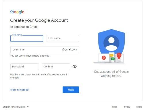 بيانات تسجيل gmail