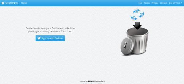 واجهة موقع حذف التغريدات